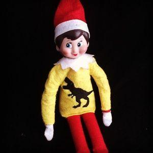 Elf on the shelf T-Rex dinosaur sweater